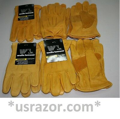 6 pairs Wells Lamont heavy duty Leather Work Gloves Premium Medium Cowhide