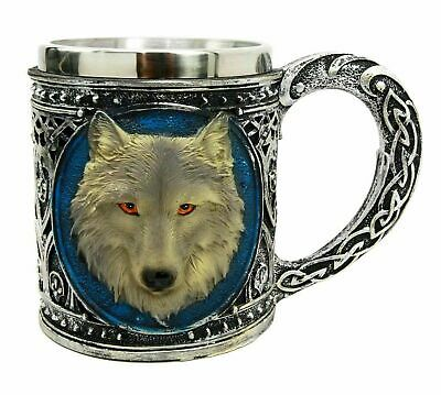"6""L Alpha Gray Wolf Celtic Tribal Magic Resin 16oz Mug With Stainless Steel Rim"