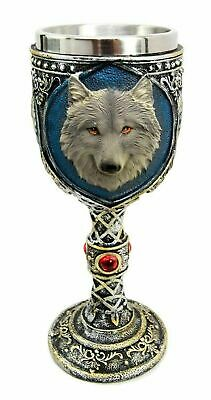 "7.5"" Height Alpha Gray Wolf Celtic Magic 7oz Wine Chalice Goblet Cup Fantasy"