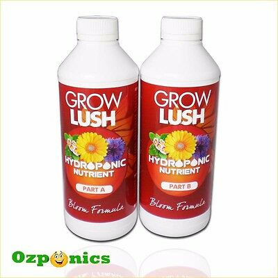 Growlush Nutrients Hydroponics Hydro Bloom Formula A & B (1L/5L/20L)