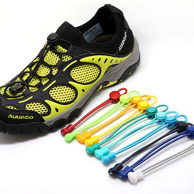 New Elastic No-Tie Locking Shoe Laces With Buckles For Sport Running Shoes 1Pair