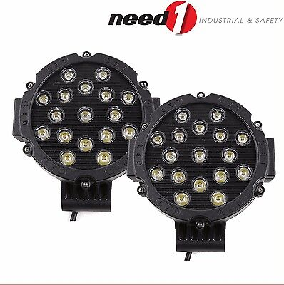 2 x 51W 102W LED Driving Work Flood & Spot Light 4WD Black