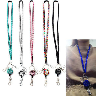 Newly Rhinestone Bling Crystal Neck Lanyard Strap ID Badge Cell Phone Key Holder
