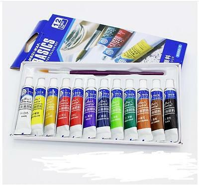 Painting Acrylic 5ml  Draw Color Set Free Paint Brush Paint Tube  Hot 12 Color