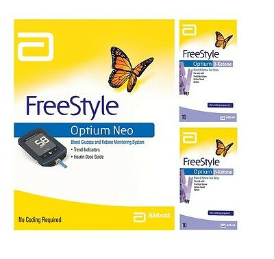 Abbott Freestyle Optium Neo Monitor & 2x Optium Blood ß-Ketone Strips 10s Bundle