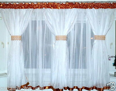 White voile curtains 5 cocoons 196'' 500 cm x 71'' 180 cm 4 colours for you