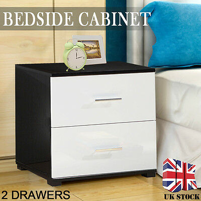 Bedside Table Cabinet Chest 2 Drawers Black White High Gloss Bedroom Furniture