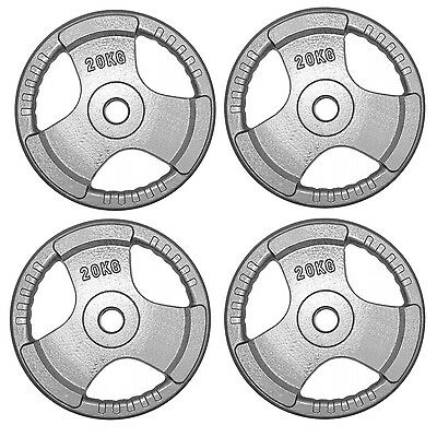 """Tri Grip Olympic Cast Iron Weight Plates 4 x 20 kg Barbell 2"""" Dumbbell Weights"""