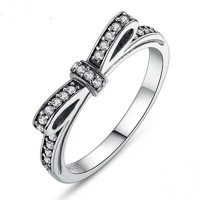S925 Sterling Silver Bowknot Ring European With Crystal Stone Jewelry Size 6-9