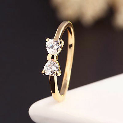 Ladies Crystal Diamond Ring Gold Plated Finger Bow Zirconia Engagement Rings