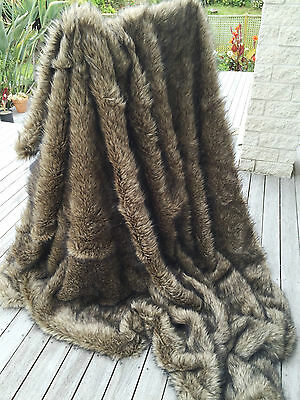 Brown Faux Wolf / Coyote Fur Throw King Size Bedspread Faux Fur Blanket