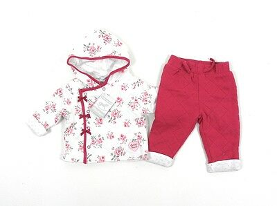 Rock a Bye Baby Quilted Floral Hooded Jacket Pants 2 Piece Outfit Set 0-9 Months