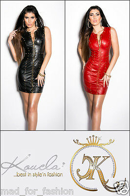 Sexy Leather Look Faux Leather Mini Dress With Studs. Uk 8.10.12 Eu 36.38.40.