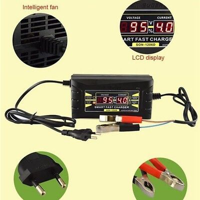 12V 6A Souer Genuine Smart Car Motorcycle LCD Display Battery Charger UK Plug