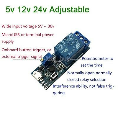 DC 5v 12v 24v Adjustable Trigger Delay Time Switch Timer Board Relais modul Car