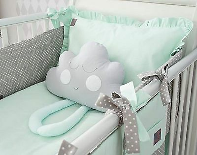 NEW EXCLUSIVE & LUXURY BABY BEDDING SET - mint & grey dot + CLOUD / COT- COT BED