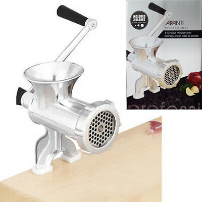 AVANTI No.10 Meat Mincer Machine with Alloy Disks & S/S Blade! RRP $93.95!