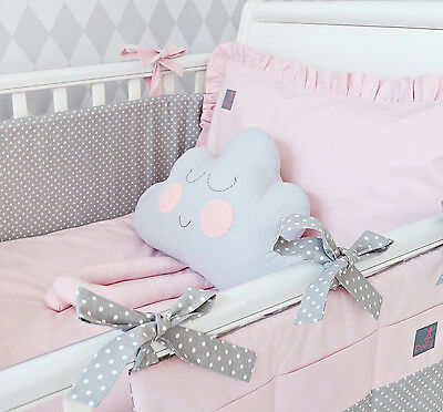 **NEW EXCLUSIVE & LUXURY BABY BEDDING SET - powder pink & grey polka dot + CLOUD