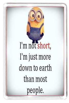 Fridge Magnet Minion Character Short Small Petite Down Earth People Quote Humour
