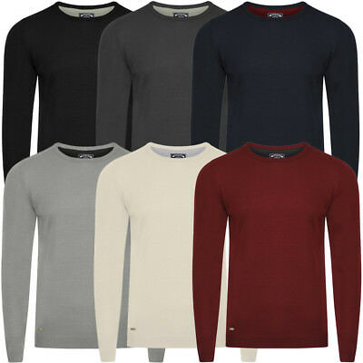 Kensington Eastside Mens Classic Crew Neck Long Sleeve Knitted Jumper Size M-XXL