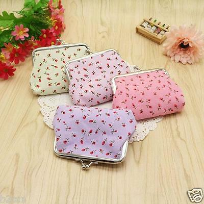 Vintage Ladies Wallet Flower Print Card Holder Coin Purse Clutch Cotton Handbag