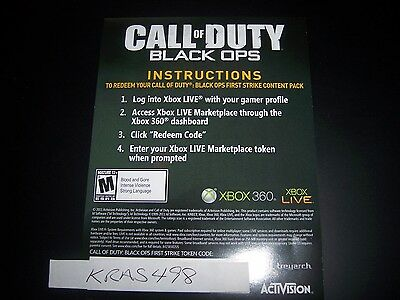 Call of Duty:Black Ops Xbox 360 FIRST 1st STRIKE CONTENT PACK DOWNLOAD CARD DLC