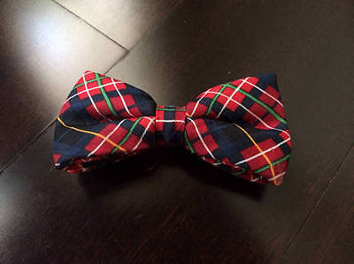 Toddler Boys Plaid Clip On Bow Tie Red Navy Preppy Holiday Christmas 2 3 4