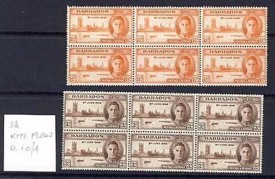 BARBADOS-1946 VICTORY SET IN BLOCKS OF 6-3d WITH KITE FLAW VARIETY-UNM MINT-MNH