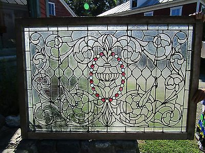 Large Antique Clear Stained Glass Window Colored Jewels