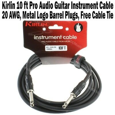 "Kirlin 10ft Guitar Instrument Cable 1/4"" +Cable Tie Black Logo Patch Cord 3m NEW"