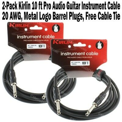 "2-Pack Kirlin 10ft Guitar Instrument Cable 1/4"" +Cable Tie Black Patch Cord 3m"