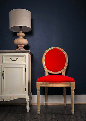 French Louis Side Chair White Red Linen Oak Antique Dressing  Bedroom Dining