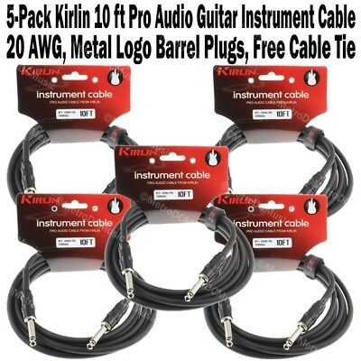 "5-Pack Kirlin 10ft Guitar Instrument Cable 1/4"" +Cable Tie Black Patch Cord 3m"