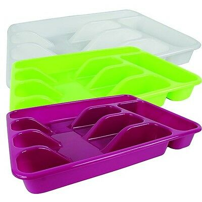 Cutlery Tray with 5 Compartments 4,5 x 26 x 33,5 CM Green Purple or White