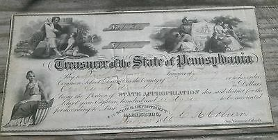 1866 Treasurer of The State Of Pennsylvania Check Certificate Stock