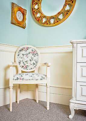French Louis Armchair Frame Vintage Shabby Chic Country Antique Floral Chair