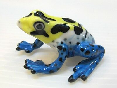 Porcelain Miniatures Collectible Ceramic Blue Yellow Frog FIGURINE