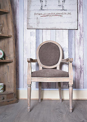 French Louis Armchair Farmhouse Vintage Shabby Chic Country Antique Oak Brown