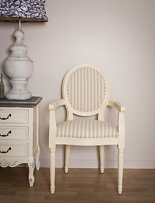 French Louis Arm Frame Vintage Shabby Chic Country Antique Stripe Chair White