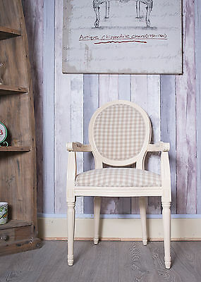 French Louis Arm Frame Vintage Shabby Chic Gingham Antique Tartan Chair White