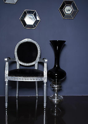 French Louis Armchair Silver Black Shabby Chic Antique Style Bedroom Hall Chair