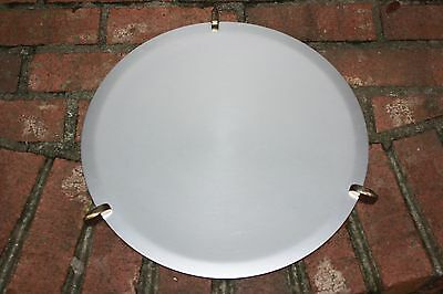 "16"" VTG Kensington Spun Aluminum Large Serving Platter Art Deco Feet Round"
