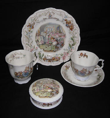 """RARE - Royal Doulton, Brambly Hedge - """"The Birthday"""" 5 items Collection"""
