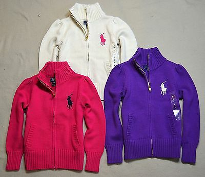 Nwt Girl Kid Polo Ralph Lauren Full Zip Cable Knit Sweater Jacket 3T 4T 5 6 6X