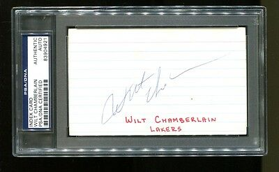 Wilt Chamberlain Signed Index Card 3x5 Autographed Vintage PSA/DNA 83904921