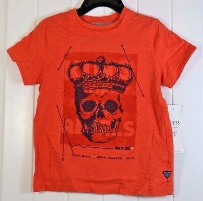 06fb2fec4d51 Nwt Boys Kids Toddler Guess Orange Spring Short Sleeve Crew Neck T Shirt Sz  3T 4