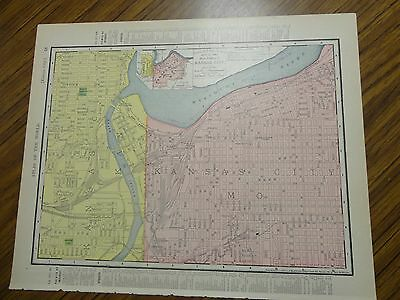 Nice 1895 antique colored map of Kansas City, Missouri-Rand, McNally & Co's