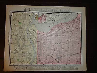 Nice 1895 antique colored map of Kansas City. by Rand, McNally & Co.