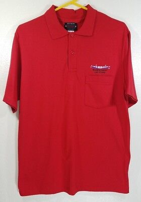 Vintage STARDUST CASINO Las Vegas Men's Red Polo Golf Shirt LARGE Made in USA