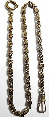 "Vintage Pocket Watch Fob Gold Tone Chain 13 3/4"" Long"